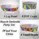 Pfaltzgraff Beach Umbrella Party Bowl/Cup Set NEW 9 Pc