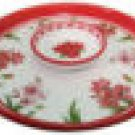 "Amaryllis Lazy Susan Ceramic w/Dip Bowl 14 1/2"" NEW"