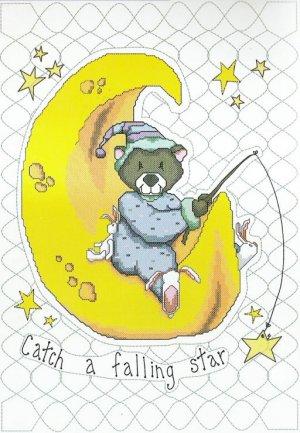 Falling Star Bear Moon Crib Quilt Top