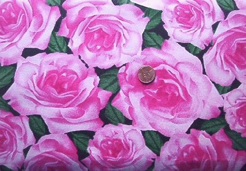 Big Pink Roses on Black Quilt Fabric
