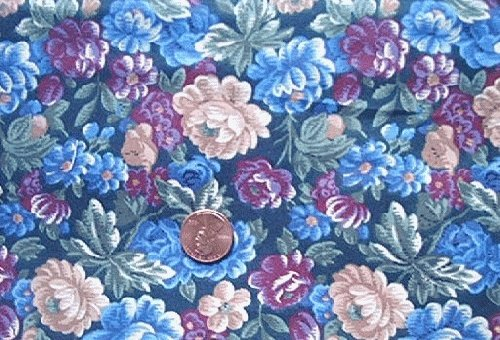 Blue Flowers on Black Quilt Fabric