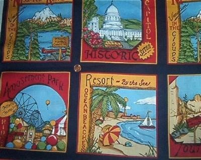 Cheater Blocks Parks Cities Quilt Fabric