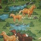 Horses in Pasture Quilt Fabric