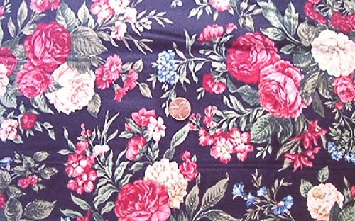 Old Fashioned Roses on Black Quilt Fabric