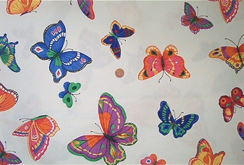 Scattered Large Butterflies on White Quilt Fabric OOP