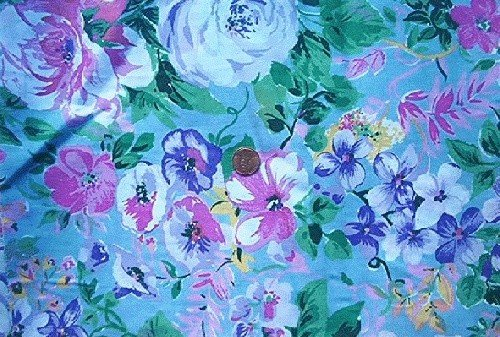 Tropical Flowers on Blue Quilt Fabric