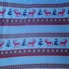 Blue Reindeer Trees Fleece for Blanket