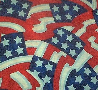 Jumbled 6 Star Flags Patriotic Quilt Fabric