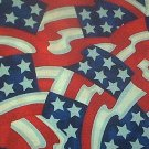 Jumbled 6 Star Flags Patriotic Quilt Fabric