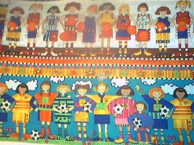 Baseball Soccer Border Girls KP Kids Quilt Fabric OOP