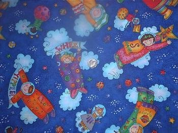Dark Blue Atomic Astronauts KP Kids Quilt Fabric OOP