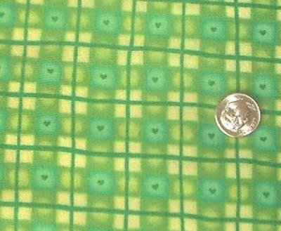 Lime Green Plaid KP Kids Quilt Fabric OOP
