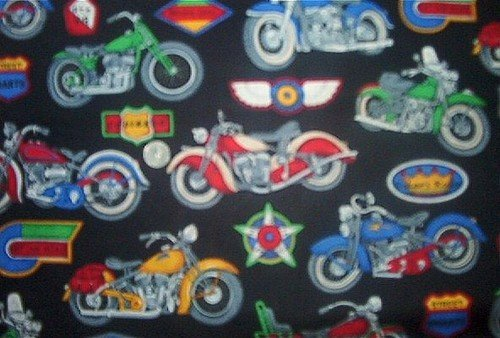 Motorcycle Bike Chopper Kids Quilt Fabric OOP