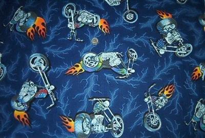 Motorcycle Harley Chopper Flames Kids Quilt Fabric OOP