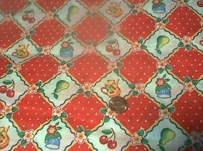 Retro Engelbreit Red Cherries Kids Quilt Fabric OOP