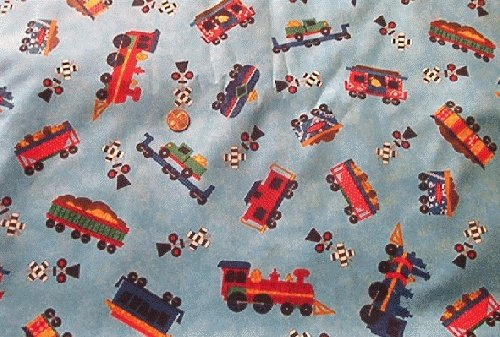 Tossed Steam Trains Backer for Kids Quilt Fabric