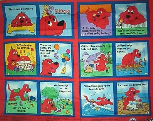 Clifford Big Red Dog Cotton Fabric Panel Baby Book