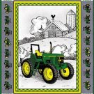 Cheater John Deere Tractor Quilt Top Panel