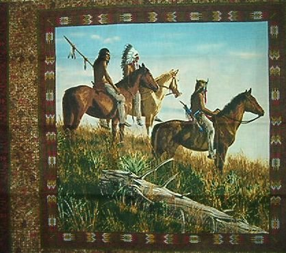 Indians Horses on the Plains Pillow Panel