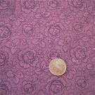 Burgundy Roses Tone on Tone Fabric