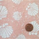 White Seashells on Peach Fabric