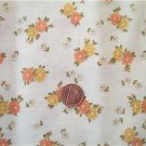 Orange and Yellow Flowers on Beige Fabric