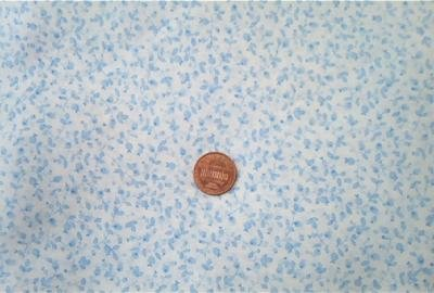 Tiny Blue Leaves on White Fabric