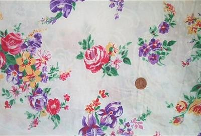 Pink and Purple Roses on White Fabric