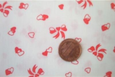 Red Hearts and Bows Quilt Fabric