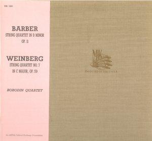 Barber String Quartet in b minor Weinberg String Quartet No. 7 Borodin Quartet - Artia MK 1563 LP