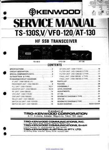 KENWOOD TS130S Service Manual with Schematics Circuits on Mauritron CD