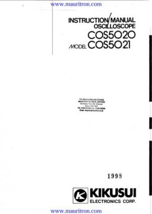 KIKUSUI COS5021 Service Manual with Schematics Circuits on Mauritron CD