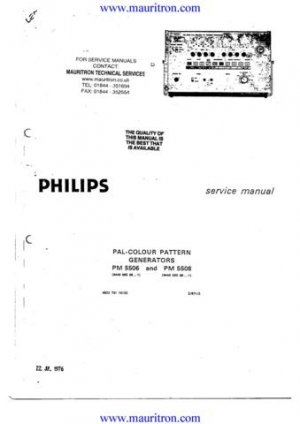 Philips PM5506 Service Manual. From Mauritron