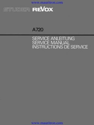 Revox A720 Service Manual. From Mauritron