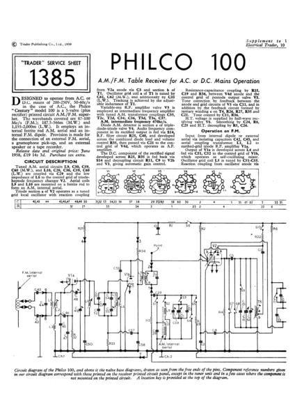 Philco 100 Technical Repair Manual Mauritron