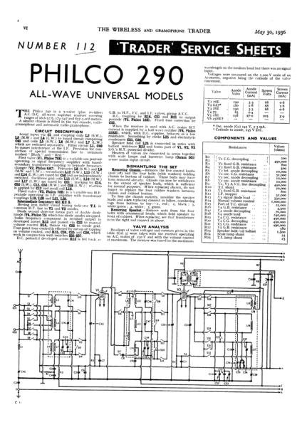 Philco 290 Technical Repair Manual Mauritron
