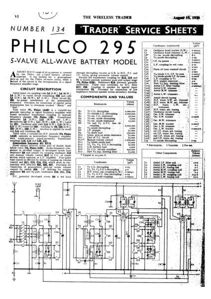 Philco 295 Technical Repair Manual Mauritron