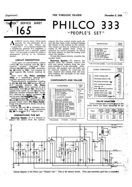 Philco 333 Technical Repair Manual Mauritron