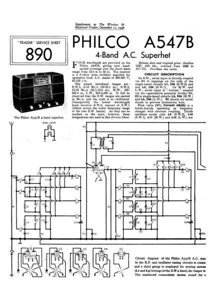 Philco A547B Technical Repair Manual Mauritron