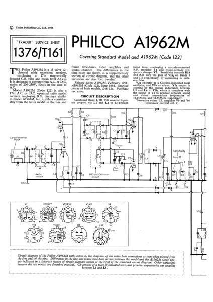 Philco A1962M Technical Repair Manual Mauritron
