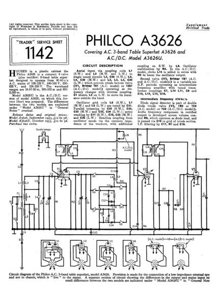 Philco A3626U Technical Repair Manual Mauritron