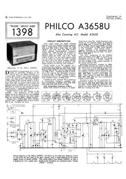Philco A3658U Technical Repair Manual Mauritron