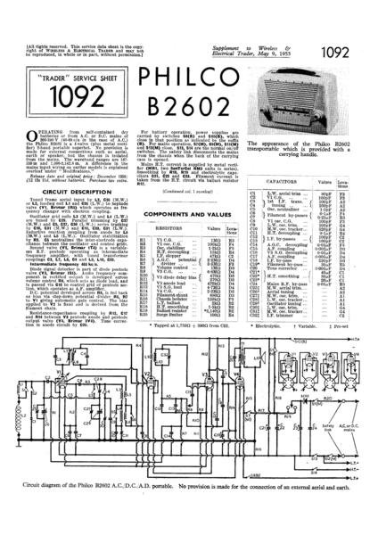 Philco B2602 Technical Repair Manual Mauritron
