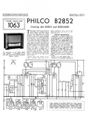 Philco B2854ARG Technical Repair Manual Mauritron