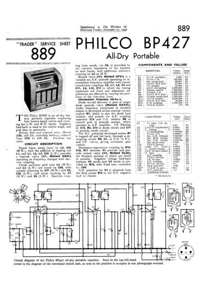 Philco BP427 Technical Repair Manual Mauritron