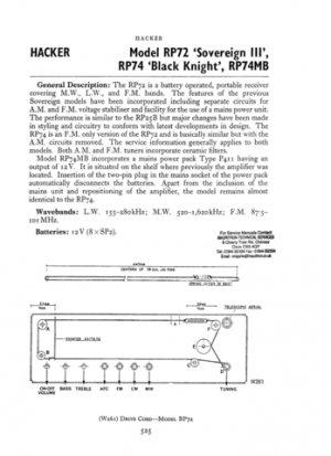 Hacker RP74 Black Knight Service Manual Schematics. mts#218