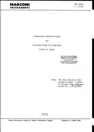 Marconi TF1041B Service Manual Mauritron#268