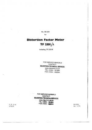 Marconi TF2331A Service Manual Mauritron#294