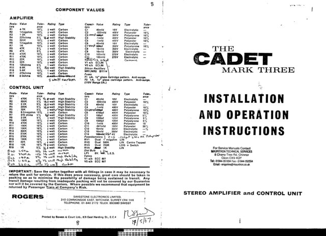 rogers cadet mk 3 manual schematics  mauritron 362