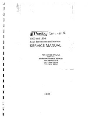 Sinclair 1504 Service Manual Mauritron#371